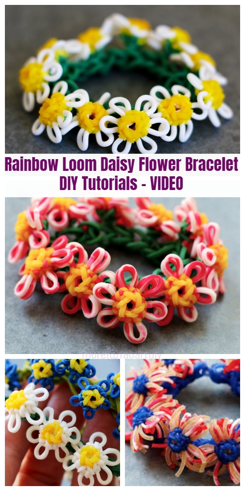 DIY Rainbow Loom Daisy Flower Bracelet Tutorials Video