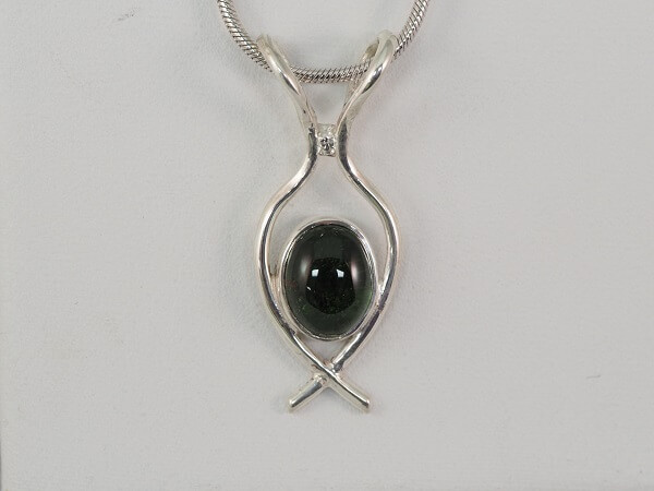 Sterling Silver Green Tourmaline and Diamond Pendant