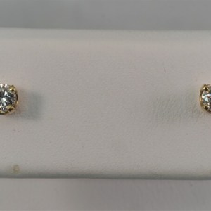 14k Yellow Gold, .22ctw Diamond Stud Earrings - $640