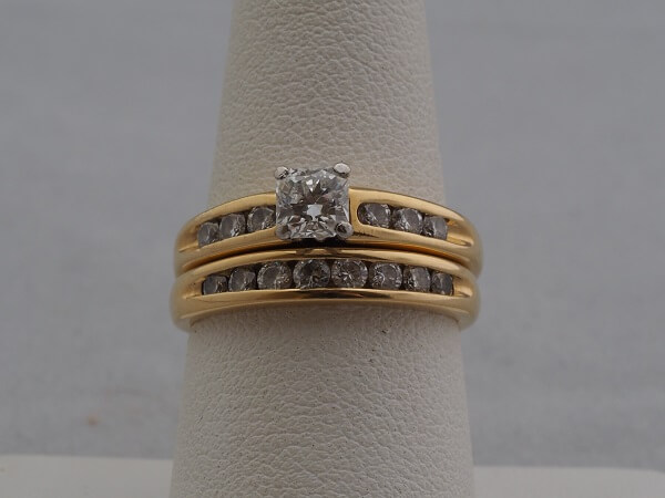 18k Yellow Gold Wedding Set, approx. 1.08ctw - $2,600