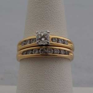 18k Yellow Gold Wedding Set, approx. 1.08ctw - $2,600