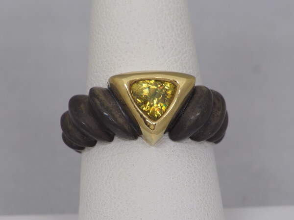 Sphene Trilliant, 18k Yellow Gold and Oxidized Sterling Silver Ring - $900