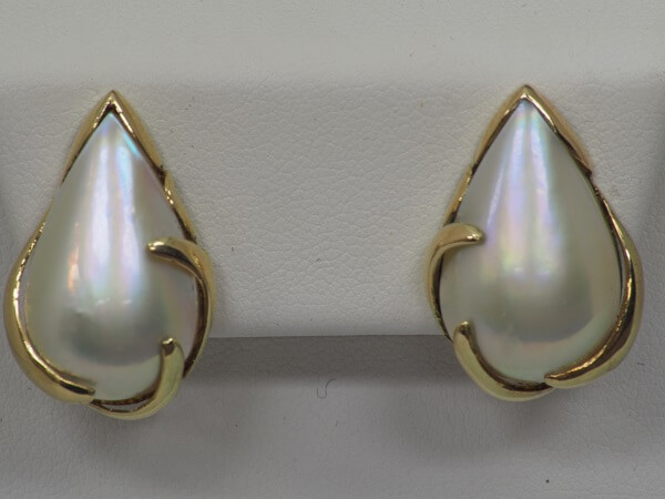 14k Yellow Gold Mabe Pearl Stud Earrings, 23mmx13mm - $350