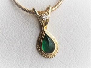 Handmade 18k Yellow Gold Emerald Pendant with Diamond Accent
