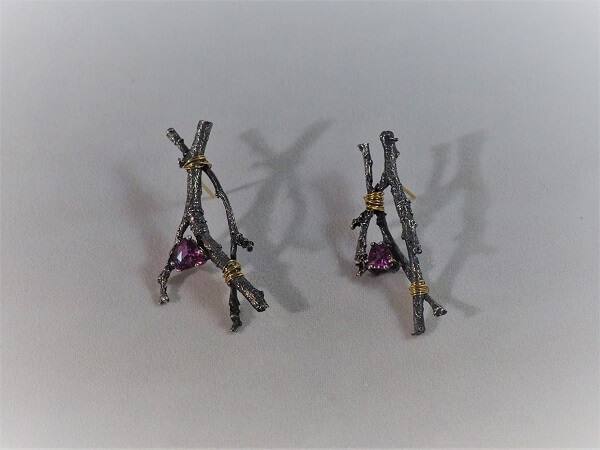Sterling Silver and Purple Sapphire Cast Twig Earrings with 22k Yellow Gold Accents