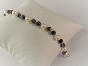 """6"""" Pearl and Tiger Eye Bracelet with Sterling Silver Swivel Clasp - $58"""