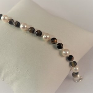 "6"" Pearl and Tiger Eye Bracelet with Sterling Silver Swivel Clasp - $58"