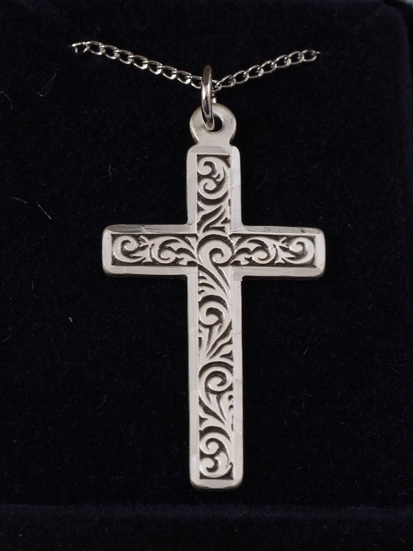 """Sterling Silver Engraved Cross 1 1/4"""" X 5/8"""" with 18"""" SS Chain - $51"""