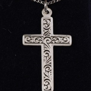 "Sterling Silver Engraved Cross 1 1/4"" X 5/8"" with 18"" SS Chain - $51"