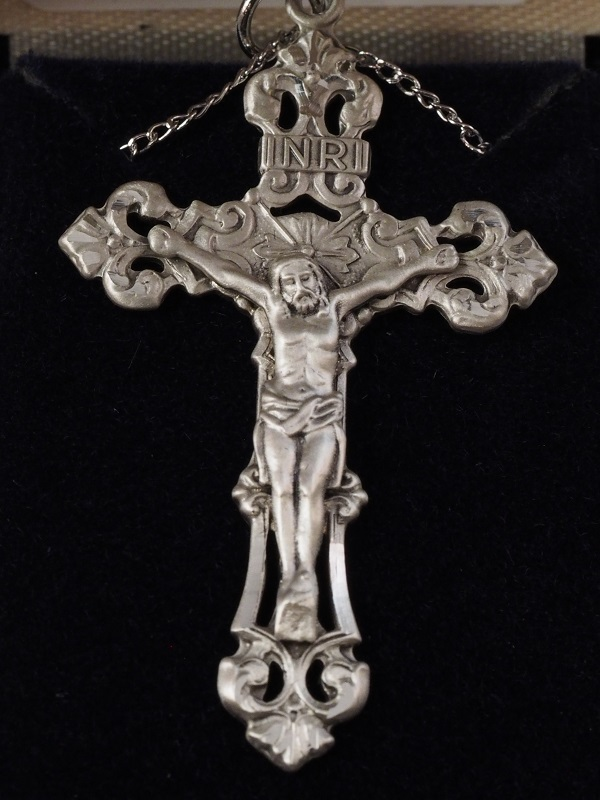 "Sterling Silver Engraved Crucifix 1 7/8"" x 1 1/8"" with 18"" SS Chain - $73.50"
