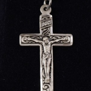 """Sterling Silver Engraved Crucifix 1 1/4"""" X 5/8"""" with 18"""" SS Chain - $57.50"""