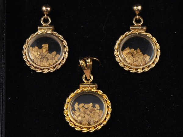 Nugget gold pendant and earring set, 14k yellow, 5.5g - $400
