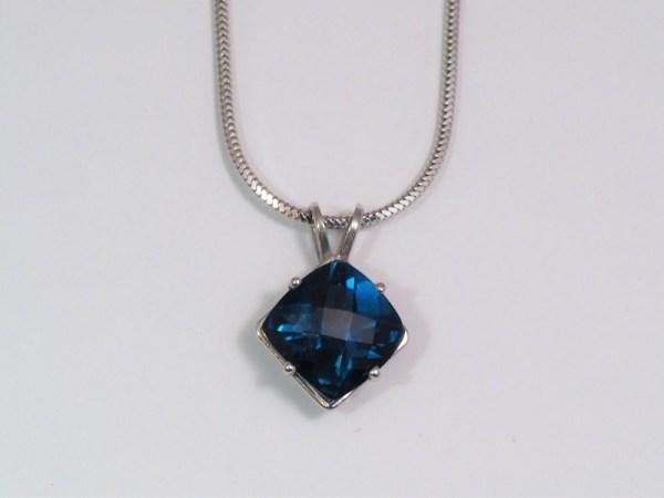 14k White Gold London Blue Topaz Pendant - $378