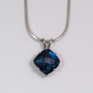 14k White Gold London Blue Topaz Pendant - $378