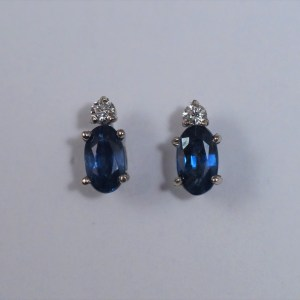14k White Gold Sapphire Earrings with .06ctw diamonds - $249