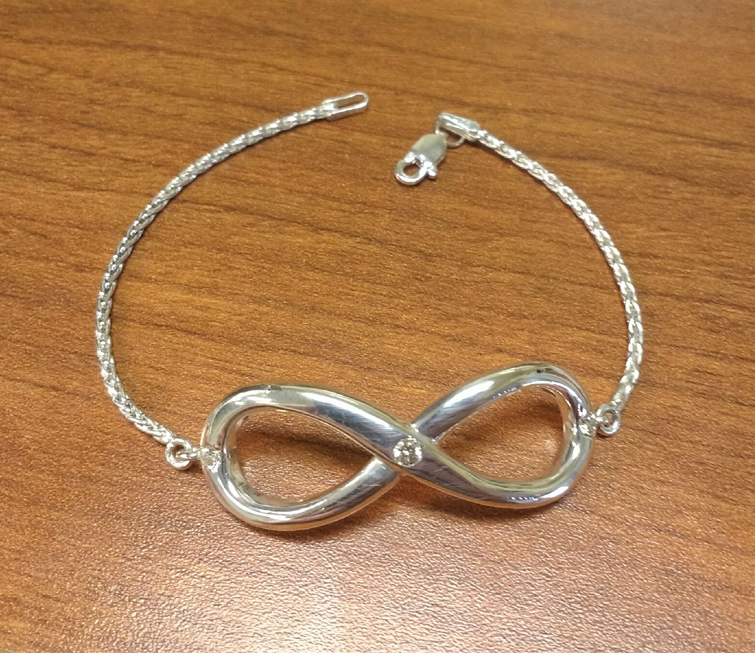 Silver and Diamond Infinity Bracelet