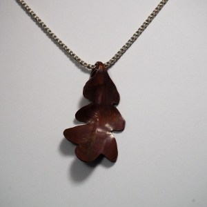 Hand Forged Copper Leaf Pendant, no stone