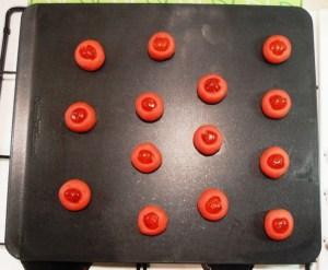 GlideX Baking Sheet, Red Nose Day Cookies with vanilla, cherry, dark chocolate