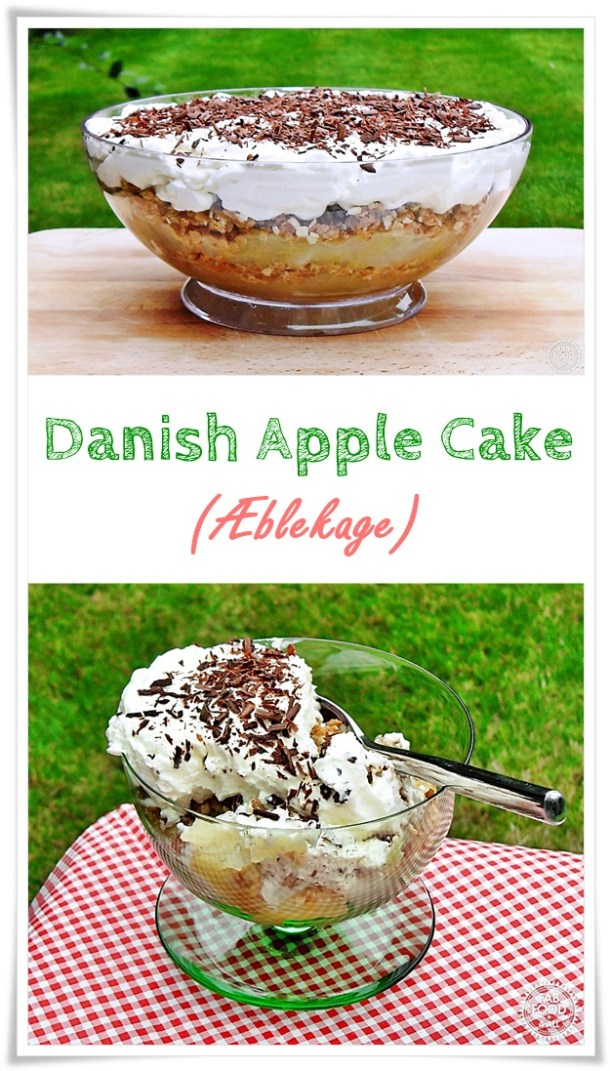 Danish Apple Cake (Æblekage) is a traditional Danish dessert made with apples, toasted oats and cream although there are variations! #apple #dessert #danish #oats #pudding #Christmas