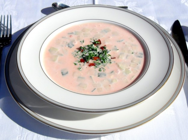 Spicy cold tomato soup, creamy, Spanish, Meditteranean