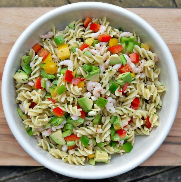 Chilli Prawn and Pasta Salad, Healthy, seafood, shellfish, packed lunch, cold food, dinner, lunch
