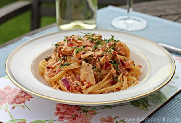 Salmon, Dill and Caper Linguine, pasta, spaghetti, fish, seafood, white wine, alfresco dining,