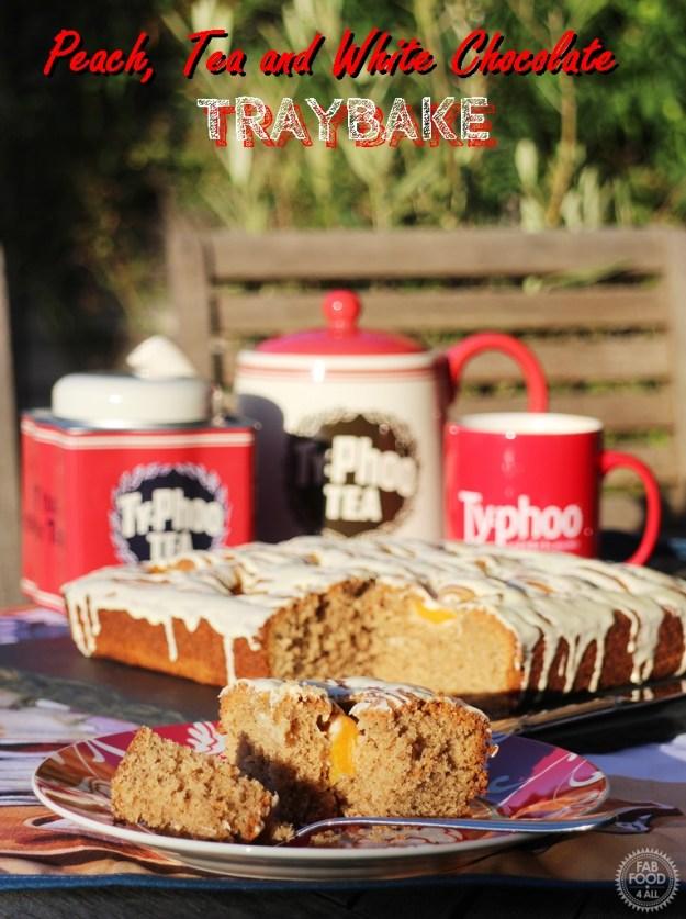 Peach, Tea & White Chocolate Traybake - Fab Food 4 All