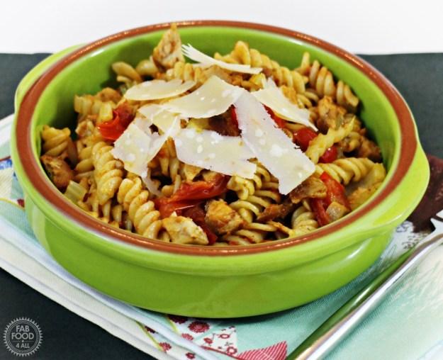 Quick Leftover Pork Pesto Pasta - Fab Food 4 All