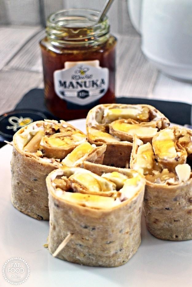 Breakfast Pinwheel Wraps with Manuka Honey