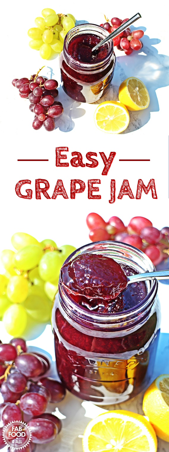 Easy Grape Jam - 3 ingredients & pectin free! @FabFood4All #grapejam #grape #jam #jelly #canning