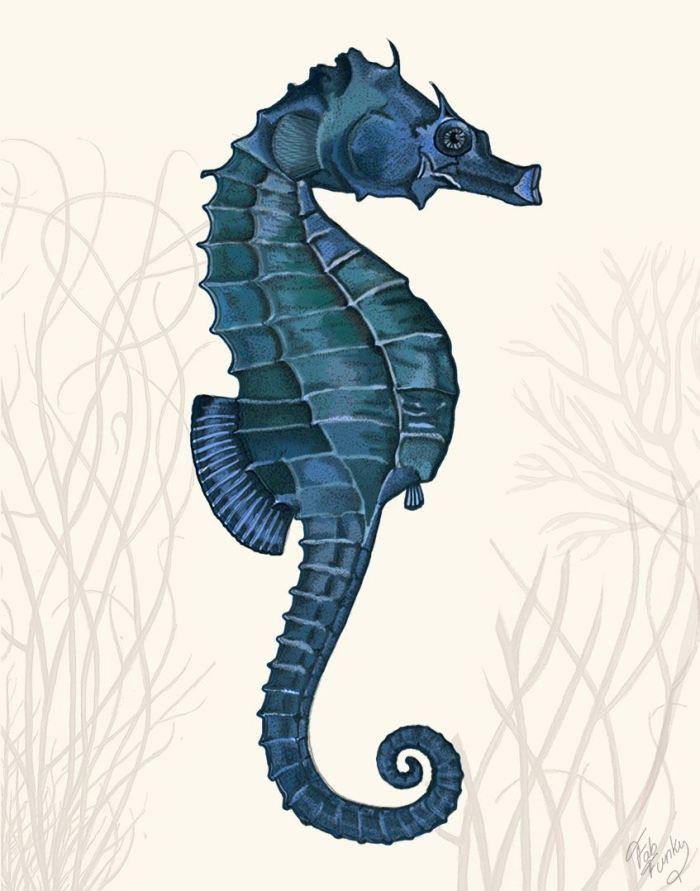 Blue Seahorse on Cream