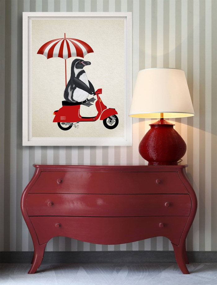 Penguin On Red Moped