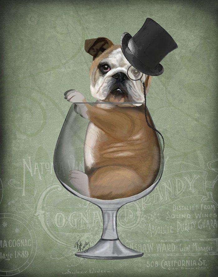 English Bulldog in Brandy Glass - Green