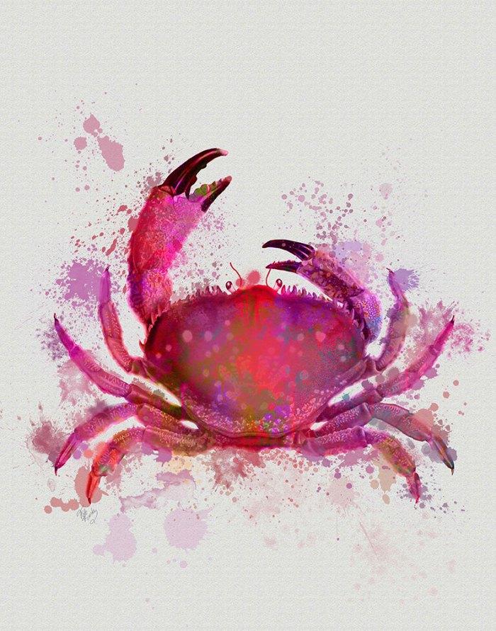Crab 1 Pink Rainbow Splash