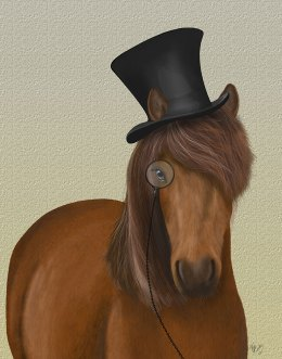 Horse Top Hat and Monocle