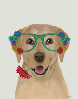 Labrador Yellow and Flower Glasses