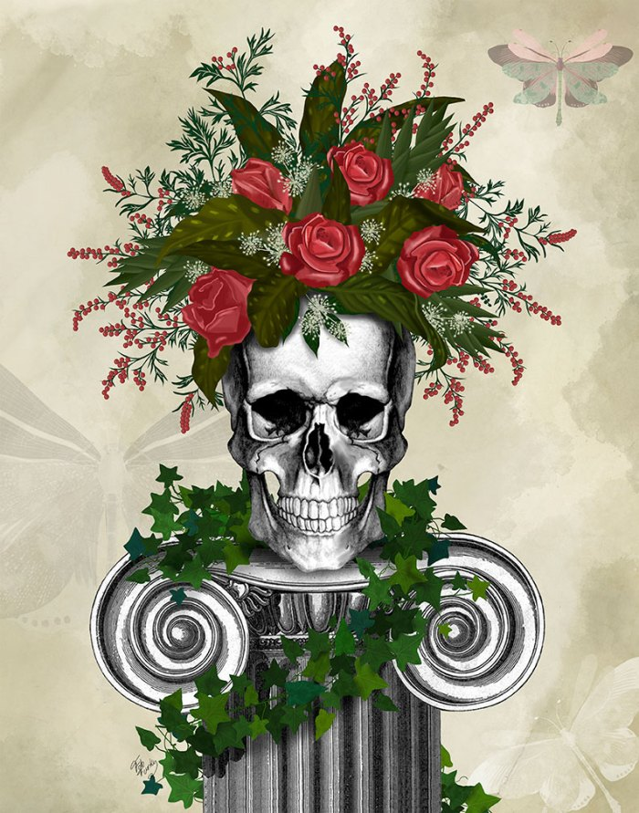 Skull with Roses and Berries