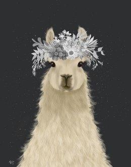 Llama White Flowers