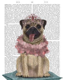 Pug Princess On Cushion