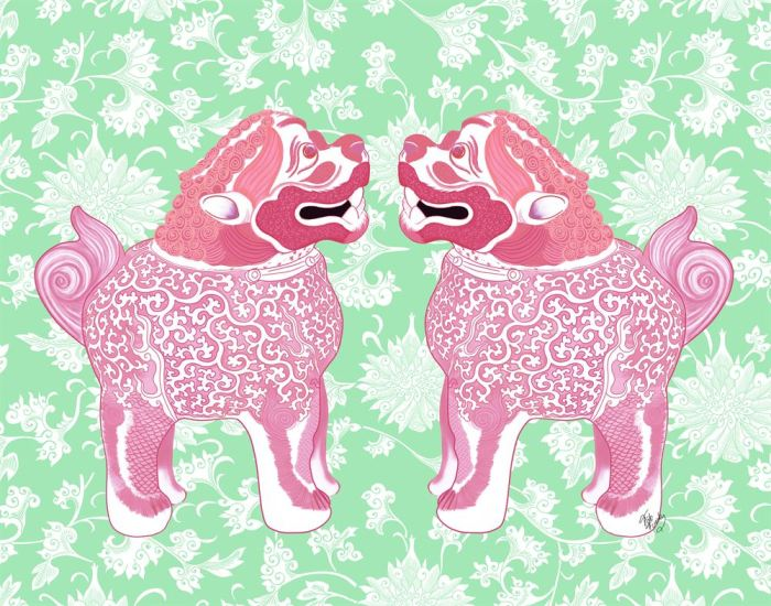 Foo Dog Twins Pink and Green Chinoiserie Art Print LoopyLolly Art Prints