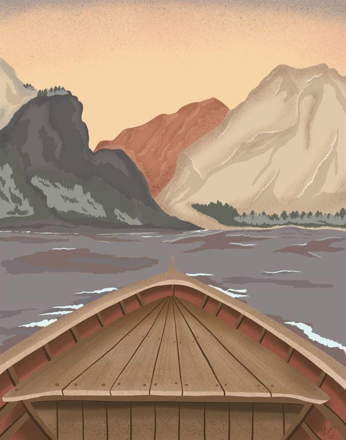 Boat On Calm Lake Art Print