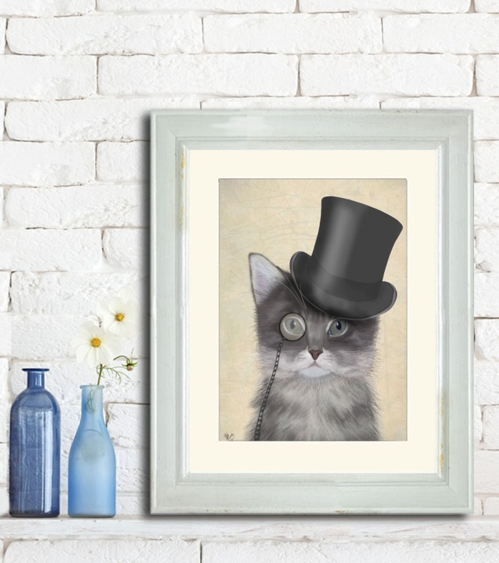 Grey with Top Hat
