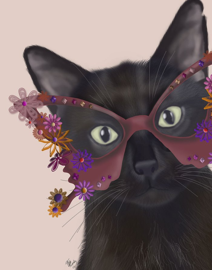Cat and Flower Glasses