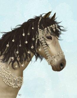 Horse Buckskin with Jewelled Bridle