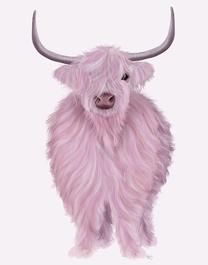 Highland Cow in Pink