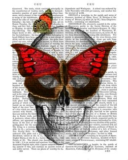 Pink Butterfly Mask Skull