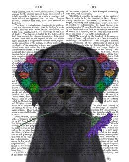 Labrador Black and Flower Glasses