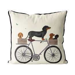 Dachshunds on Bicycle - Cream