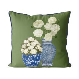Chinoiserie Flower Duo 1 on Green