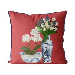Chinoiserie Flower Duo 4 on Red